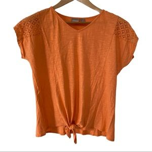 Chicos coral short sleeve tee tie front top VGUC